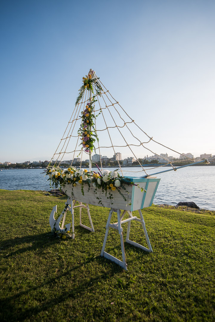 havana nautical wedding wooden boat