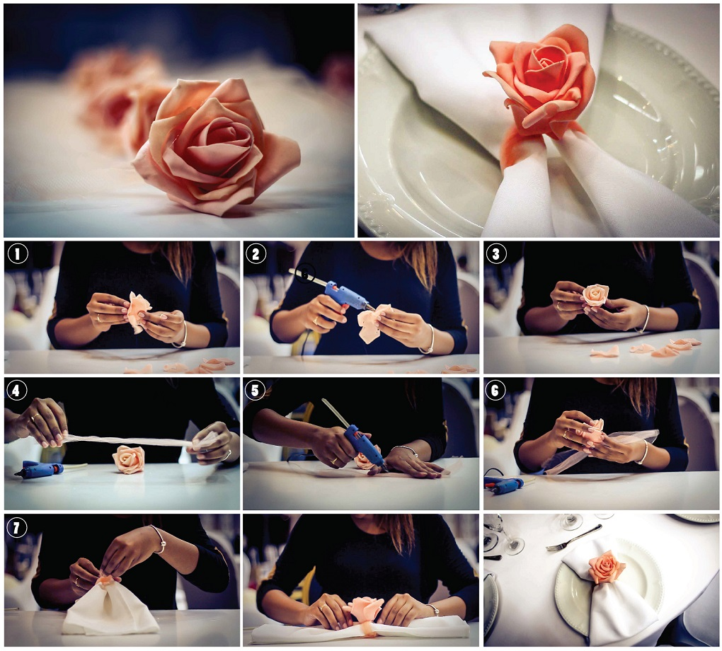 DIY satin rose napkin ring